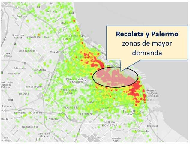 mapa demanda Uber